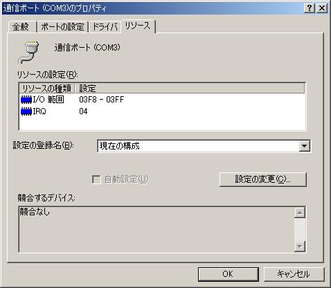 Windows 2000でのシリアルポートのプロパティ画面