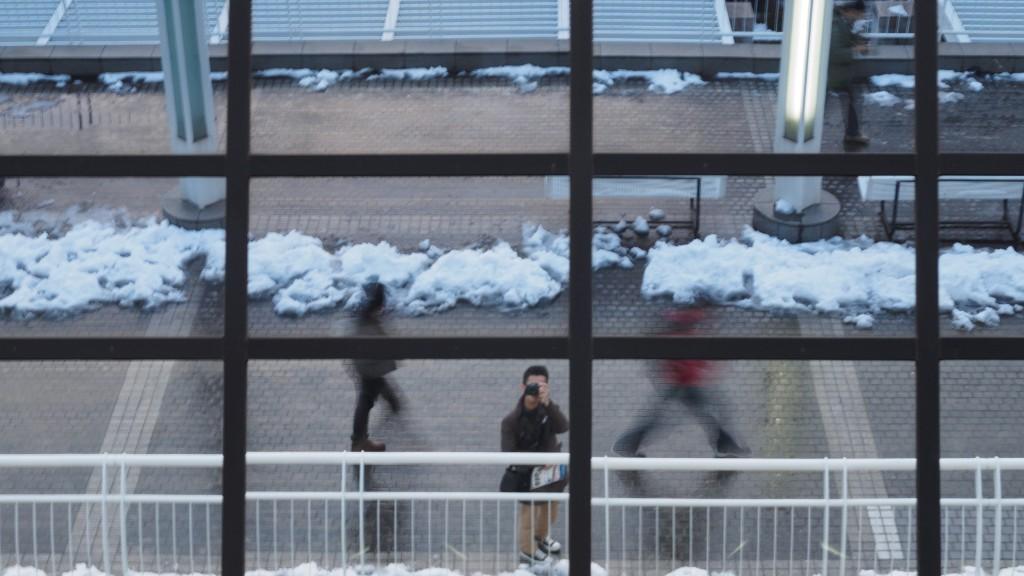CP+ 2014会場前に残る雪