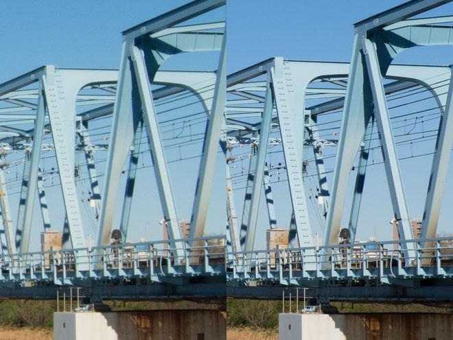 左がコンデジ、右が一眼。Lightroomストレート現像後、L版印刷用(1750x1313)に縮小したもののフォーカス位置を等倍表示。