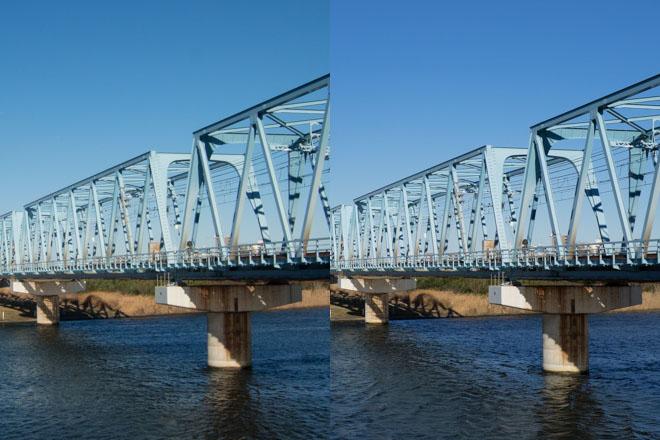左がコンデジ、右が一眼。Lightroomストレート現像後、ブログ本文用(660x495)に縮小したもののフォーカス位置を等倍表示。