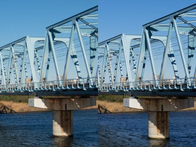 左がコンデジ、右が一眼。Lightroomストレート現像後、ブログ拡大表示用(1024x768)に縮小したもののフォーカス位置を等倍表示。